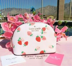 🌸 NWT kate spade Staci Wild Strawberries Small Dome Cosmetic Makeup Bag New 🌸 $53.99