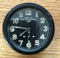 Lip Wwii Type 14 Montre D'aeronef Aircraft Military French Cockpit Clock France