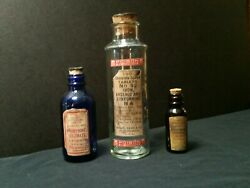 3 Vintage Style Arsenic And Poison And Morphine Glass Medicine Bottles By Artist