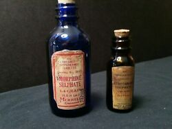 2 Vintage Style Poison And Morphine Glass Medicine Bottles By Artist