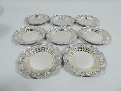 Chrysanthemum Butter Pats - 7228 - Antique - American Sterling Silver