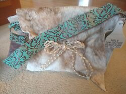 Holy Cow Couture Purse Messenger Diaper Bag Tan Fur Teal Strap amp; Bow NWT Org$500 $375.00