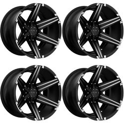 Tuff All Terrain T12 24x11 8-170 -45 Satin Black Brushed Inserts Wheels Rims Set