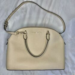 Michael Kors Saffiano Emmy Large Dome Satchel Handbag Leather Cream Crossbody $59.00