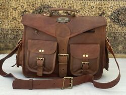 18 Inch Men#x27;s Genuine Vintage Leather Messenger Shoulder Laptop Handmade Bag $59.90