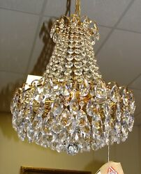 Austrian Chandelier W Crystals On Gold Plated Structure, 8 Lights,