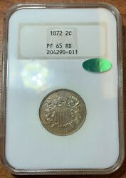 1872 Two Cent Piece Ngc Pf65rb Cacnice Coin