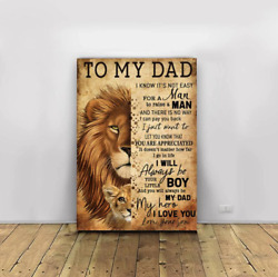 Fathers Day To My Dad You Will Always Be My Dad My Hero Lion Framed Canvas