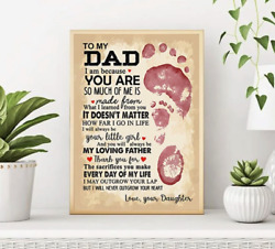 To My Dad From Daughter I Will Never Outgrow Your Heart Father Day Framed Canvas