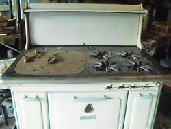 Antique Prosperity Kitchen Stovecast Irongas Water Heater Build In Cream W/grn