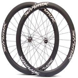 Atomik Carbon 700c Road Clincher 11 Spd Wheelset Aero 24/28 6 Bolt Disc Brakes