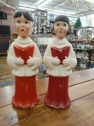 Rare Vintage 1960andrsquos Beco 21andrdquo Christmas Boy And Girl Choir Carolers Blow Molds