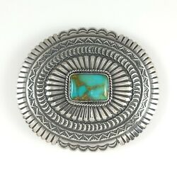 Sunshine Reeves Navajo Belt Buckle Sterling Silver Hubei Turquoise Concho Style