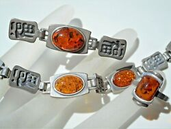 Vintage Collectible Quality Chinese Sterling Silver Baltic Amber Jewelry Set
