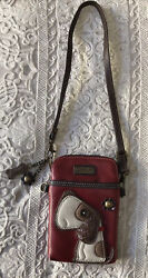 New Chala Beagle Basset Puppy Dog Cell Phone Purse Mini Red Brown Bag