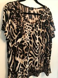 New Shannon Ford Womens Short Sleeve V-neck Leopard Print Top Plus Size 3x