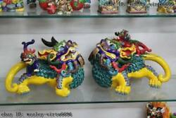 Taiwan Cochin Pottery Colorful Porcelain Evil Foo Dog Lion Brave Troops Statue
