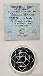1oz 2021 Silver Shield Proof Square Matrix Round Coin 16 Sacred Geometry