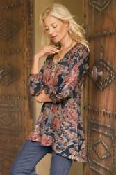 Soft Surroundings Millie Floral Scoop Neck Knit Shirt Long Sleeve Casual Size L