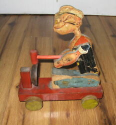Antique Vtg Fisher Price 700 Popeye The Sailor Pull Toy 1935 Wood Rare Original