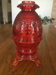 Viking Glass Ruby Red/orange Pot Belly Stove Fairy Lamp Candle Holder Vtg
