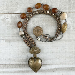 Antique French Sacred Heart Reliquary Locket Artisan Victorian Chain Necklace