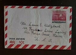1957 Kobe Japan To Air Force Base Maine Usa Aerogramme Letter Airmail Cover