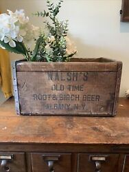 Vintage Antique Walsh's Root And Birch Beer Soda Bottle Wood Box Crate Albany, Ny
