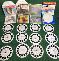 Lot Of 12 Viewmaster View Master Reel Lassie Aristocrats Winnie The Pooh Mickey
