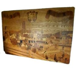 Wood Panels Marquetry Style W/ Inlay Design Village Scene Large From Germany