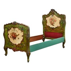 Antique Bed Painted Venetian Rococo Style Polychrome Custom 1900and039s Special