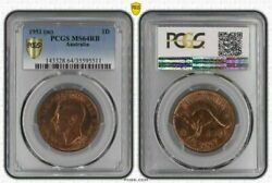 1951m Australia 1 Penny Pcgs Ms64rb Bu Unciculated Coin With Luster