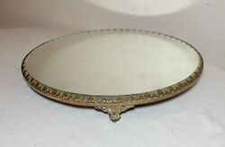 Antique Bronze Round Plateau Beveled Vanity Jewelry Table Top Mirror Tray Brass'