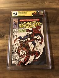 Amazing Spiderman 361 Cgc 9.8 Ss Signed And Venom Sketch Bagley 1st Carnage