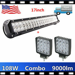 108w 17'' Led Work Light Bar Dual Row Combo+2x 48w Lamps Ford Pickup Tractor Atv