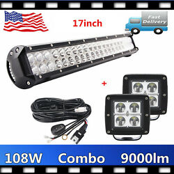 108w 17inch Led Work Light Bar Combo 12v 24v+2x 16w Pods Cube Wiring Truck 4x4wd