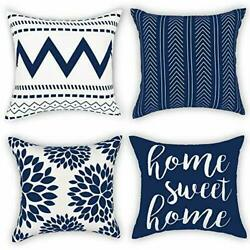 Throw Pillow Covers 18 x 18 Set of 4 Geometry Outdoor 18inchx18inch Blue