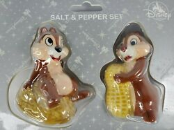 Disney Parks Classic Chip And Dale Salt And Pepper Shakers Ceramic Figurine Set