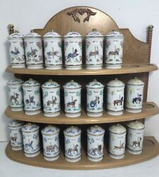1993 Lenox The Spice Carousel Fine Porcelain Lot Of 20 Jars With Wooden Rack
