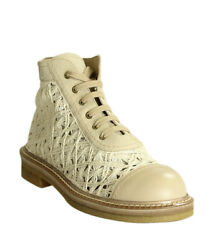 G34862 Embroidered Beige Knit High-top Sneakers, Size 38.5