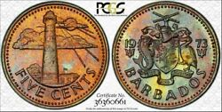 1973 Barbados Five Cents Pcgs Bu Ms64 Color Toned High Grade Six Graded Higher