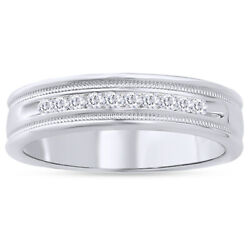Menand039s 1/4 Ct Round Cut Diamond Channel Set Milgrain Band Ring In 14k Gold