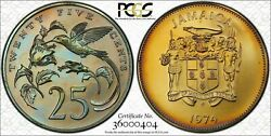 1974-fm Jamaica 25 Cents Bu Pcgs Ms67 Color Toned Coin Only 3 Graded Higher