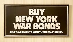 Rare Vintage 1970and039s Buy New York War Bonds New York City Nyc Framed Poster
