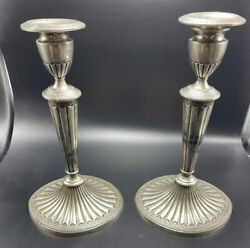 And Co. Antique English Sheffield Sterling Silver Weighted Candlesticks
