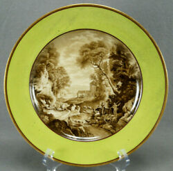 Authentic Royal Vienna Hand Painted Sheppard And Landscape Green Plate Circa 1856