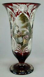 Late 19th Century Bohemian R Wurtig Ruby Flashed And Hand Painted Cut Crystal Vase