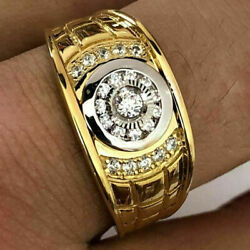 Fashion 18k Gold Menand039s White Sapphire Diamond Ring Party Band Rings Size 7-13
