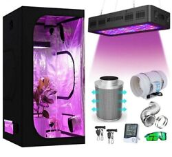 Grow Tent Complete Kit 2000w Led Grow Light + Carbon Filter Dark Room Hydroponic