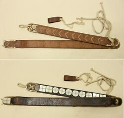 Rare Old Antique Stone Belt Costume Tools Brown Vintage From Japan